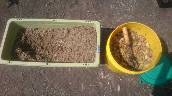 土に生ゴミ